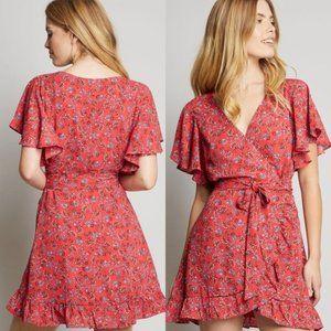 Jack by BB Dakota Red Floral Faux Wrap Mini Dress